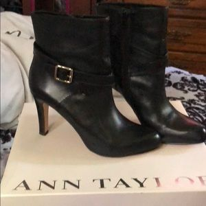 Worn once black Leather booties. Includes box